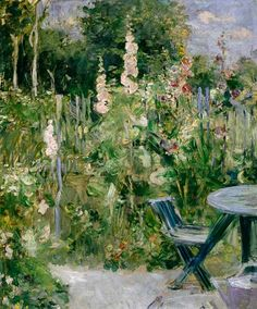 """Hollyhocks by Berthe Morisot  Considered the """"Grande Dame"""" of the French Impressionist art movement, Berthe Morisot was one of the leading female Impressionist artists, along with American painter, Mary Cassatt. Description from jerseylils2cents.blogspot.com."""