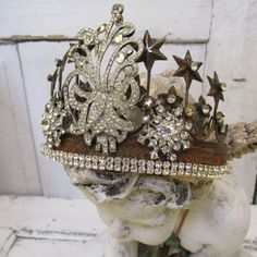 Statue crown rusted metal embellished French Santos tiara style headdress adorned with salvaged antique rhinestones anita spero