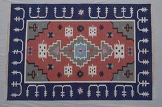 Cotton Dhurrie Rug - 4x6, Bohemian Rug, Navajo Rug, Southwestern Rug, Kilim Rug, Moroccan, Turkish, Tribe Pattern CD-122