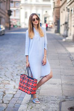 Chicnova Tender Blue Western Inspired Over-long Shirt Dress - Beautiful Clothes Photo