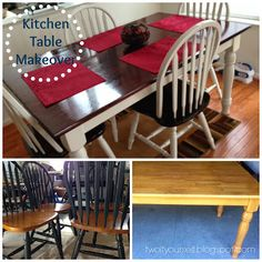 Thrifted Kitchen Table Makeover - we get sets like this @ Curiosity Shop all the time, I try to let our customers know it's really easy to update furniture with a little paint or stain. Furniture Fix, Do It Yourself Furniture, Repurposed Furniture, Furniture Projects, Furniture Makeover, Home Projects, Painted Furniture, Kitchen Chair Makeover, Kitchen Redo