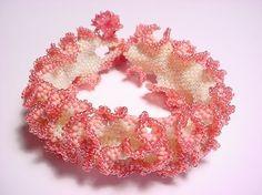 Rose Petal Ruffle Seed Bead Bracelet PDF by GlassBeadGarden - Modern Handmade Beaded Jewelry, Beaded Jewelry Patterns, Bracelet Patterns, Beading Projects, Beading Tutorials, Beading Ideas, Seed Bead Bracelets, Seed Beads, Ruffle Beading