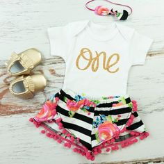 Girls First Birthday Shorts Outfit Black and by OliveLovesApple