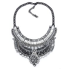 Silver and Black Rhinestone Statement Necklace-Cynthia