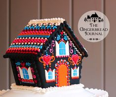 gingerbread house Day of the Dead; no-bake, made from a kit house, tutorial on www.gingerbreadjournal.com