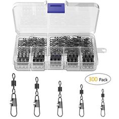 YoungRich 300 Packs Fishing Barrel Swivel with Safety Snap Hook Connector with Plastic Box Snap Size 2 4 6 8 10 Solid Rings Stainless Steel and Copper +B Silver , Premium Material: Made of copper and stainless steel, the fishing barrel swivels with safety snap are wear-resistant, non-rusty and shock resistant without deformation. A great fishing helper for you with all fishing needs...