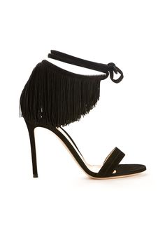 GIANVITO ROSSI Gianvito Rossi Olivia Fringed Black Suede Sandals. #gianvitorossi #shoes #