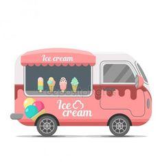 Reboque de caravana do sorvete comida de rua vector — Ilustração de Stock