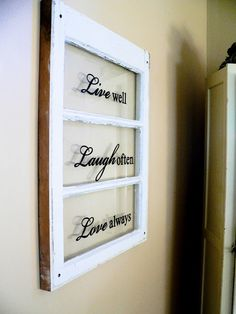 old windows & vinyl lettering