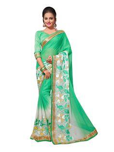 Buy Designer Sarees Light Green Colour Chiffon Jari Embrodery Work With Less Border Saree Buy Saree online UK - Buy Sarees online