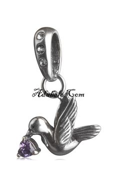This beautiful amethyst Febuary dove birthstone .925 Sterling Silver European charm fits Pandora, Biagi Trollbeads, Chamilia, and most charm bracelets find out more at adabele.com