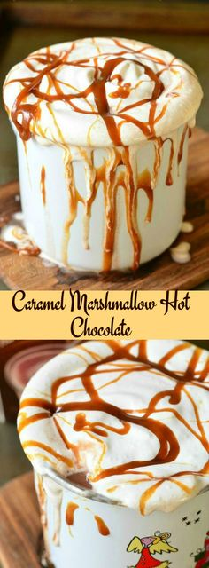 and heavenly dessert hot chocolate! Rich milk hot chocolate made with caramel and marshmallow fluff.Simple and heavenly dessert hot chocolate! Rich milk hot chocolate made with caramel and marshmallow fluff. Yummy Treats, Delicious Desserts, Sweet Treats, Yummy Food, Tasty, Dessert Drinks, Yummy Drinks, Dessert Recipes, Healthy Drinks