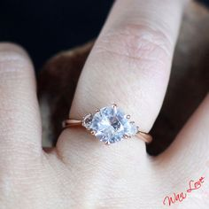 White Sapphire 3 Gem Stone Engagement Ring 14k by WanLoveDesigns