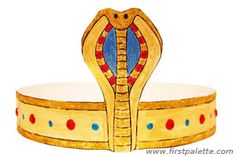 Dress up like ancient Egyptian royalty by making your own paper Egyptian headband. Wear it as part of an ancient Egyptian ensemble together with our DIY Egyptian collar, Pharaoh headdress, and Egyptian bracelet.