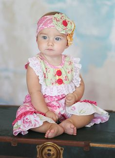 Giggle Moon Baby Romper Honeycomb and Blossoms PREORDER