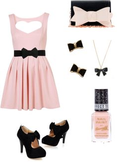 """Flirty/Feminine Bow Outfit"" by viennawongw ❤ liked on Polyvore"