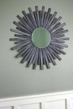 DIY Mirror : DIY Sunburst Wall Mirror Of Paint Sticks