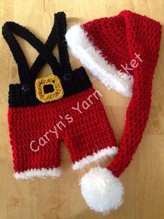 Baby Mr. Santa Clause Stocking Hat 4pc by CarynsYarnBasket on Etsy