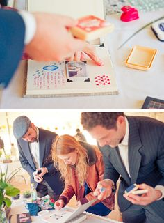 If you fancy a refreshing and full of originality idea for your guest book, you can set a table with a blank book, a Polaroid camera and... stamps! Yes! Dozens of stamps for everyone to enjoy decorating their page to give free rein to their imagination #wedding #diy #bride