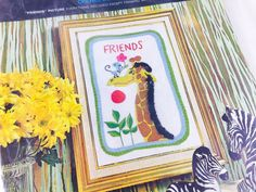 Vintage Giraffe Monkey Friends Craft Kit By Avon Creative Needlecraft Unopened Animal Embroidery Crewel Craft Kit DIY New In Package NIP NOS - pinned by pin4etsy.com