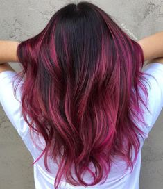 45 Shades of Burgundy Hair: Dark Burgundy, Maroon, Burgundy with Red, Purple and Brown Highlights Bold Burgundy and Fuchsia Highlights Ombre Curly Hair, Pink Ombre Hair, Brown Ombre Hair, Dyed Hair, Curly Hair Styles, Violet Hair, Pink And Black Hair, Blonde Hair, Blonde Brunette