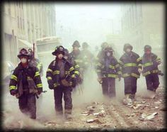 Firefighters at World Trade Center scene on World Trade Center, Trade Centre, We Will Never Forget, Lest We Forget, Flatiron Building, 11 September 2001, A New York Minute, Times Square, Into The Fire