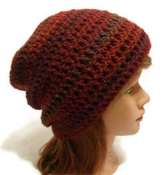 crocheted stylish slouchy beanie | Crochet Ombre Slouchy Beanie Hat in Dark Red by AddSomeStitches, $24 ...