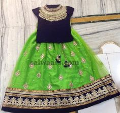 Light Green Skirt High Neck Blouse - Indian Dresses