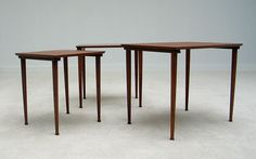 Modern Danish set of 3 nesting tables 1960. Modern online gallery. Featuring a varied selection of vintage furniture and architect furniture. At http://www.furniture-love.com/vintage/furniture/