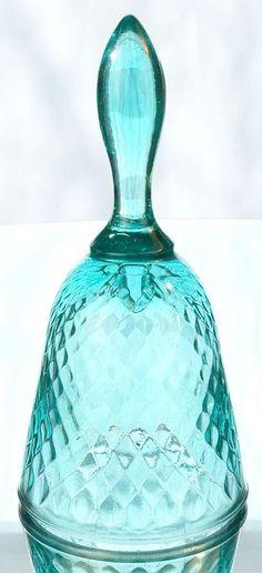rare bells | Fenton Diamond Optic Bell in Robin's Egg Blue | Fenton Glass, W.V.