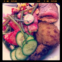 Medium beef, stuffed chicken leg with red cabbage and French beans salad