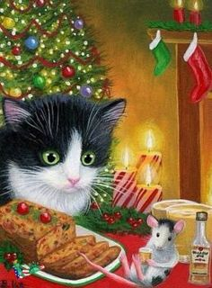 Tuxedo kitten cat mouse Christmas tree rum fruitcake original aceo painting B. Christmas Scenes, Noel Christmas, Christmas Animals, Christmas Cats, Christmas Pictures, Vintage Christmas, Illustration Noel, Christmas Illustration, Cat Illustrations