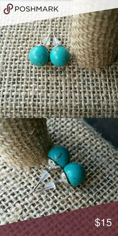 NEW authentic turquoise stud earrings Perfect size, 4-5 mm the base is rhodium.  Lead and nickel free  ****Now you can make an offer on bundles, make the most out of the shipping cost **** Jewelry Earrings
