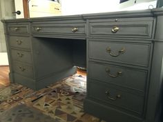 Executive desk refinished in Country Chic Cobblestone and dark wax.