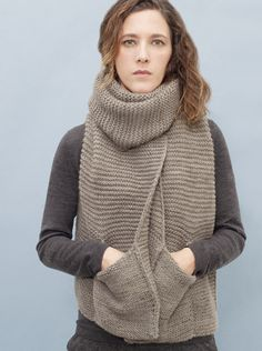 pocket scarf by knitbrary - Normally I'm not crazy about pocket scarves, but this one is beautiful