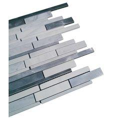 Shop 12 x 12 Industrial Asiago Polished + Brushed Aluminum + Stone Tile in Aluminum + Asian Statuary at TileBar.com.