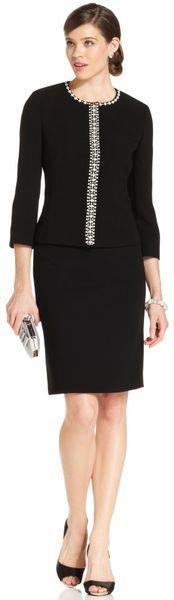 Tahari FauxPearlTrim Jacket Skirt in Black (pearl) | Lyst, Great Professional dinner Suit!
