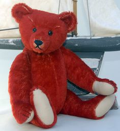 Edward ...one of my { Maggie  B } Kathleen Wallace bears. As you can tell looking through my bear board....I love RED bears !