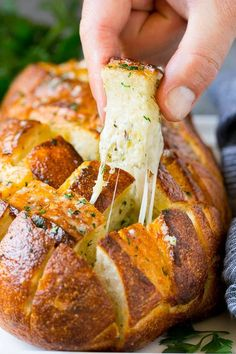 From cheese balls to mini tarts here are 20 of the Best of Pinterest Thanksgiving Appetizers to satisfy your family before the big meal. Pull Apart Garlic Bread, Cheesy Pull Apart Bread, Side Recipes, Easy Dinner Recipes, Appetizer Recipes, Party Recipes, I Love Food, Good Food, Yummy Food
