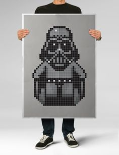 STAR WARS, Darth Vader Pixel Poster, Modern Star Wars, Movie Illustration, 39.4 x 27.5 in - OVERSIZED