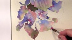 Step-by-Step of painting a blue hydrangea in watercolor – as online video lesson