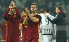 Miralem Pjanic of AS Roma salutes the crowd at the end of the Serie A match between Juventus FC and AS Roma at Juventus Arena on January 24, 2016 in Turin, Italy.