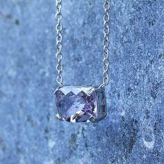 Amethyst Elongated Cushion Cut Necklace Amethyst & Diamond