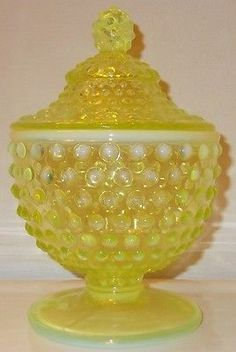 *FENTON ART GLASS ~ Yellow, Vaseline Opalescent Hobnail Footed Compote, Candy Jar, c.1940's