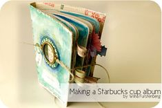 Cute mini-album made with a Starbuck's cup. Mini Albums Scrapbook, Coffee Sleeve, Diy Notebook, Album Book, Altered Books, Book Making, Mini Books, Coffee Cups, Coffee Drinks