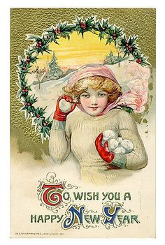 Vintage New Year Postcard * For free Christmas toys Arielle Gabriels The International Society of Paper Dolls also free China and Japan toys The China Adventures of Arielle Gabriel *