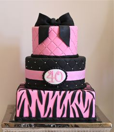 This would be an awesome birthday cake!!!! Except, I don't like pink so it would have to be black and white! ;D