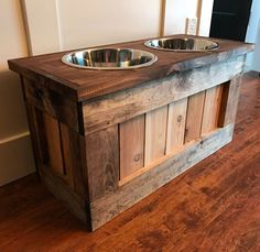 A personal favorite from my Etsy shop https://www.etsy.com/listing/489379630/dog-bowl-stand-feeder-w-storage Dog Food Bowl Stand, Dog Food Stands, Dog Food Bowls, Wood Dog Bowl Stand, Happy Dogs, Dog Training Tips, Elevated Dog Bowls, Dog Supplies, Cool Dog Houses