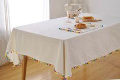 rainbow pom pom trim tablecloth