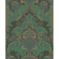 Aldwych, Green And Gold, Cole & Son Wallpapers. An updated rococo style damask wallpaper design taken from the Cole & Son archive, and named after the famous London crescent and theatre. This pattern features elaborate leafy scrolls Victorian Wallpaper, Damask Wallpaper, Wallpaper Roll, Designer Wallpaper, Pattern Wallpaper, Dark Green Wallpaper, Feature Wallpaper, Luxury Wallpaper, Bedroom Wallpaper